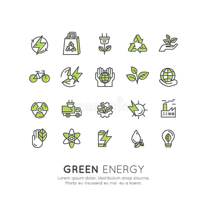 Umwelt, erneuerbare Energie, nachhaltige Technologie, bereitend, Ökologielösungen auf Website, bewegliches APP-Design, Elektroaut vektor abbildung