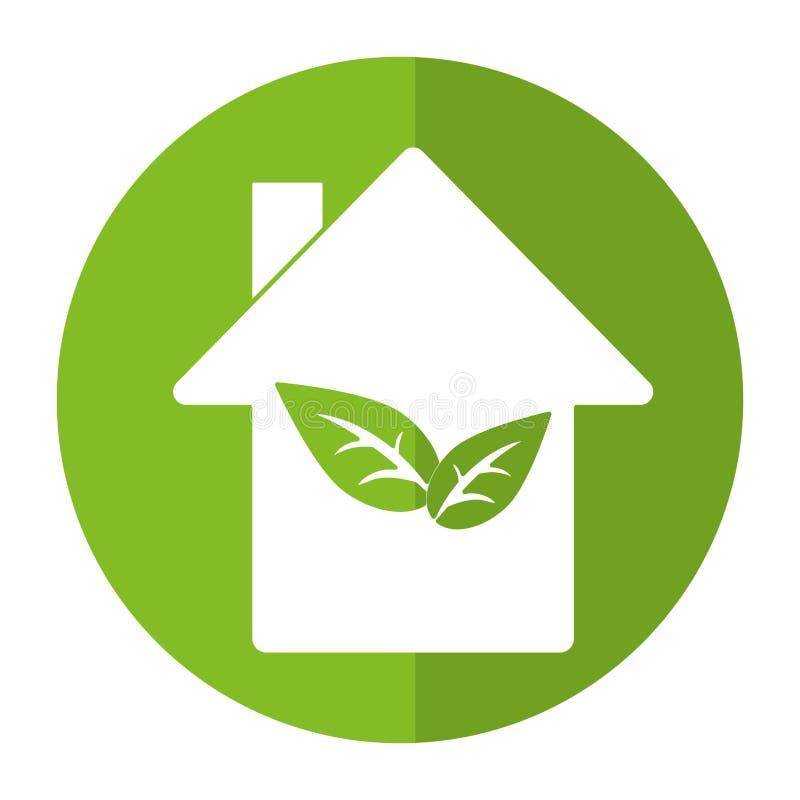 Umwelthausökologiebau-Symbolschatten lizenzfreie abbildung