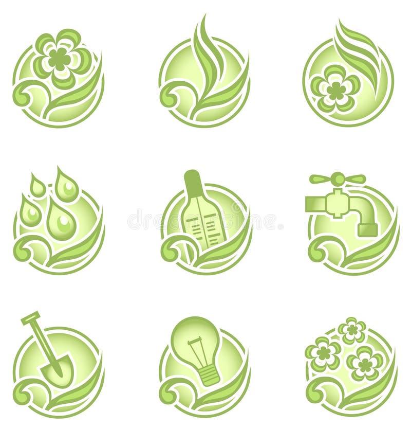 Umweltikonen im Grün lizenzfreie abbildung
