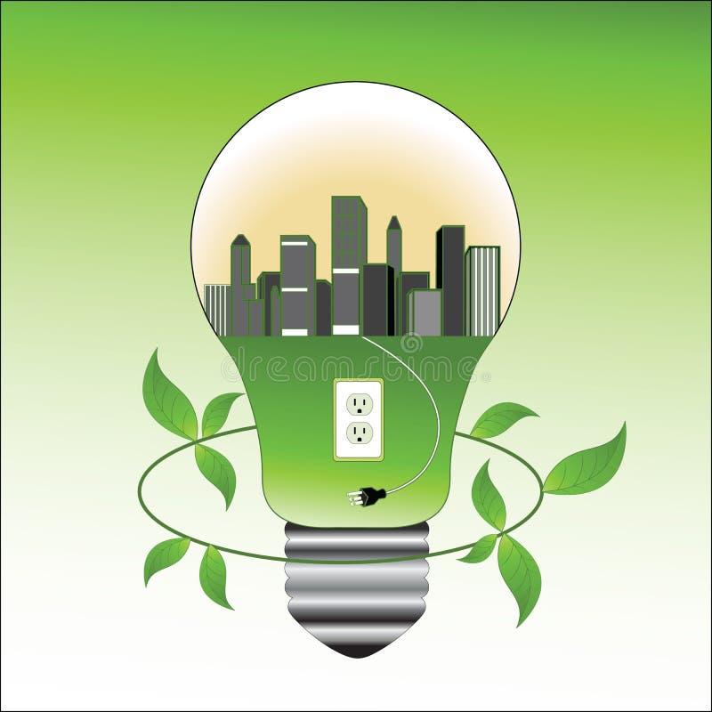 Umweltkonzeptglühlampe und -stadt stock abbildung