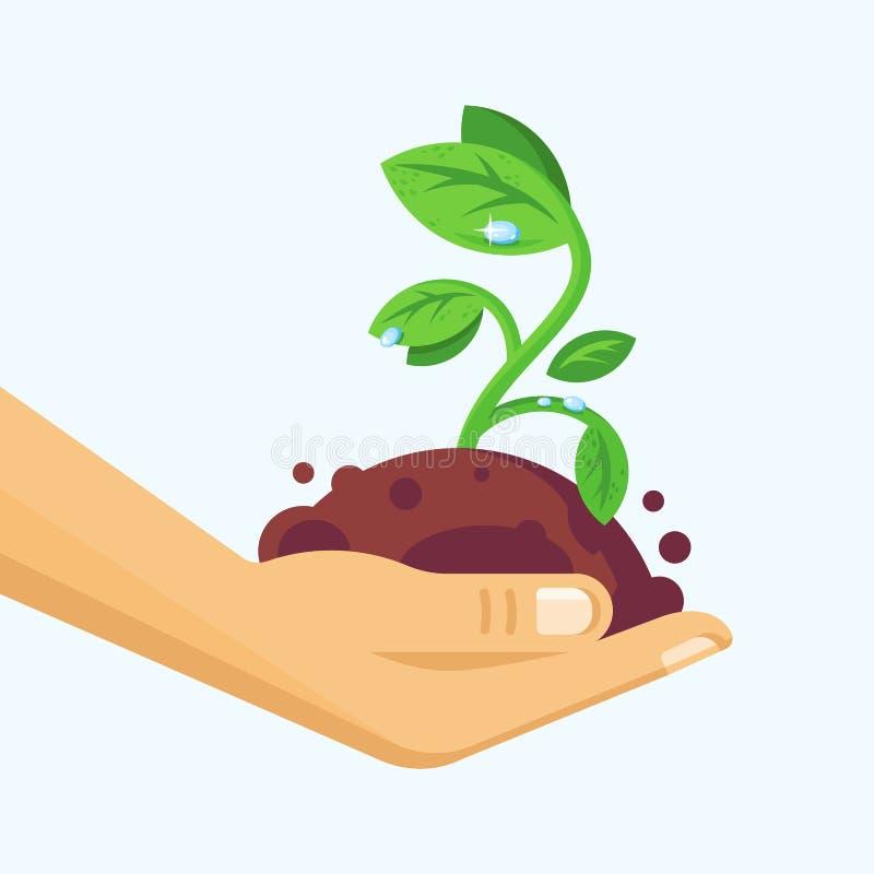 Umweltschutz, natürliche saubere Produkte, vorsichtige Haltung zur Natur vektor abbildung
