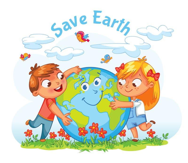 Umweltslogans, Sprechen und Phrasen über die Erde, die Natur und das gehende Grün Junge und Mädchen, welche die Kugel umarmen lizenzfreie abbildung