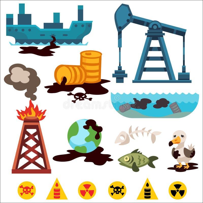 Umweltverschmutzungsvektorikonen stock abbildung