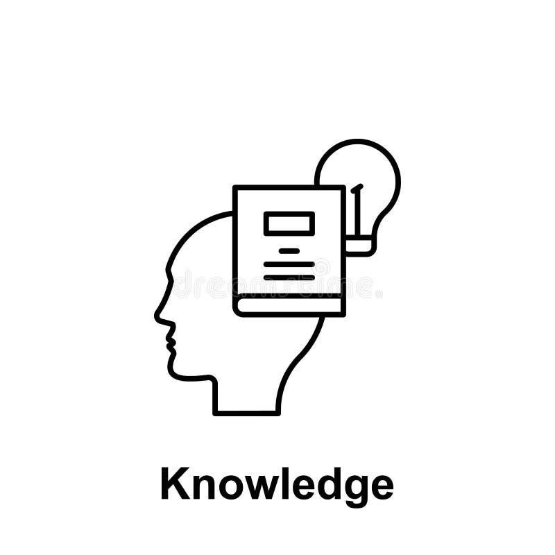 Umysł, książka, lightbulb ikona Element kreatywnie thinkin ikony witn imię Cienka kreskowa ikona dla strona internetowa projekta  ilustracji