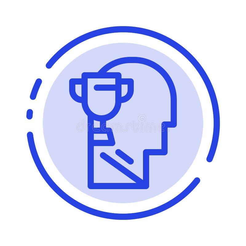 Umysł, Brian, nagroda, Kierowniczy błękit Kropkująca linii linii ikona ilustracja wektor