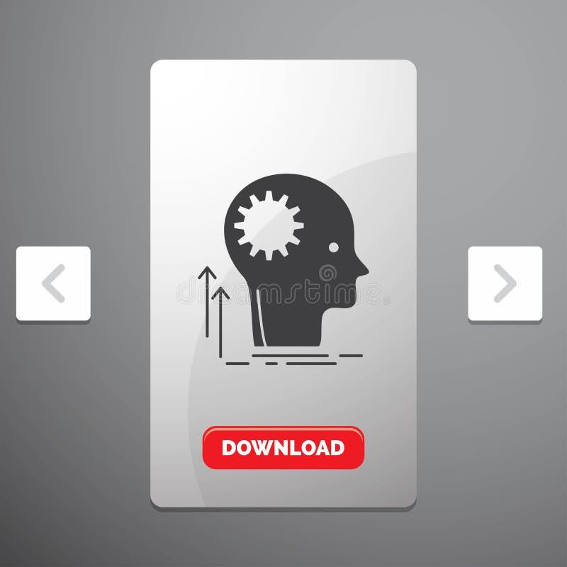 Umysł, główkowanie, pomysł, brainstorming glifu ikona w biby paginacji suwaka projekcie & Czerwony ściąganie guzik, Kreatywnie, royalty ilustracja