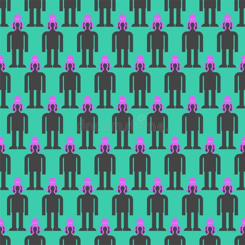 Umysł kontroli tło Obca ośmiornica na głowa wzorze bezszwowym Potworów obcych zarządzanie ludzka świadomość royalty ilustracja