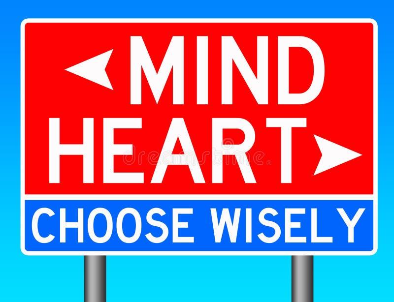Umysł lub serce ilustracja wektor