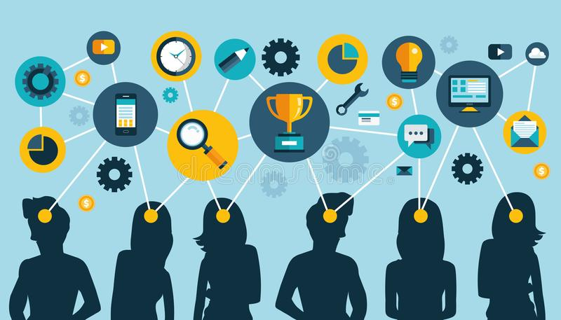 Umysł mapy drużyna Pracy zespołowej pojęcia projekt i sieć komunikacja royalty ilustracja