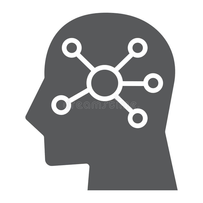 Umysł mapy glifu ikona, dane i analityka, royalty ilustracja