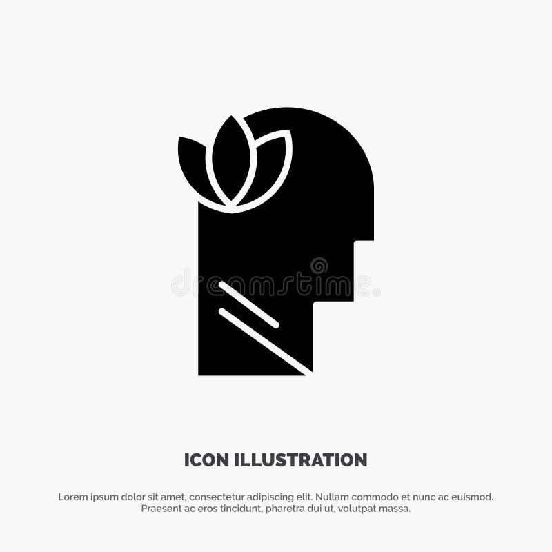Umysłowy, relaks, umysł, Kierowniczy stały glif ikony wektor royalty ilustracja
