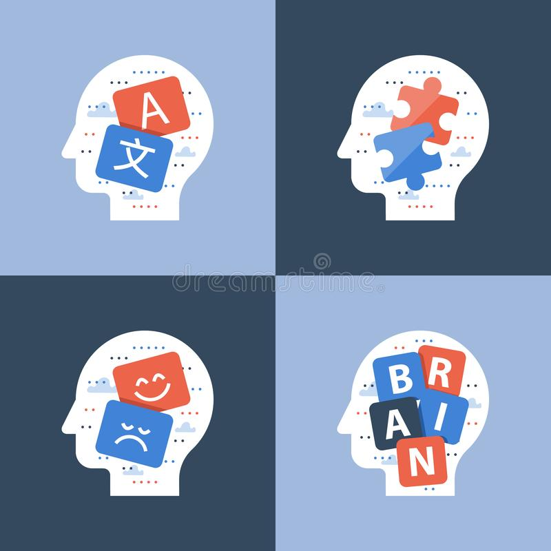 Umysłowy szkolenie, intelektualny gry pojęcie, kreatywnie główkowanie, pozytywny mindset, uczy się nowe umiejętności, pami royalty ilustracja