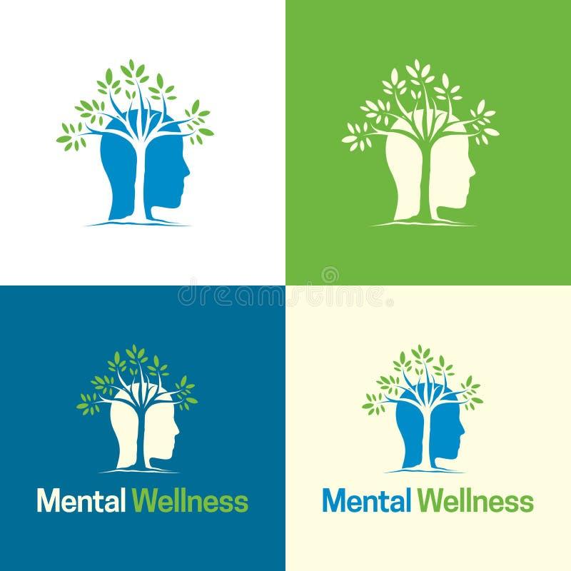 Umysłowy Wellness logo i ikona - Wektorowa ilustracja ilustracja wektor