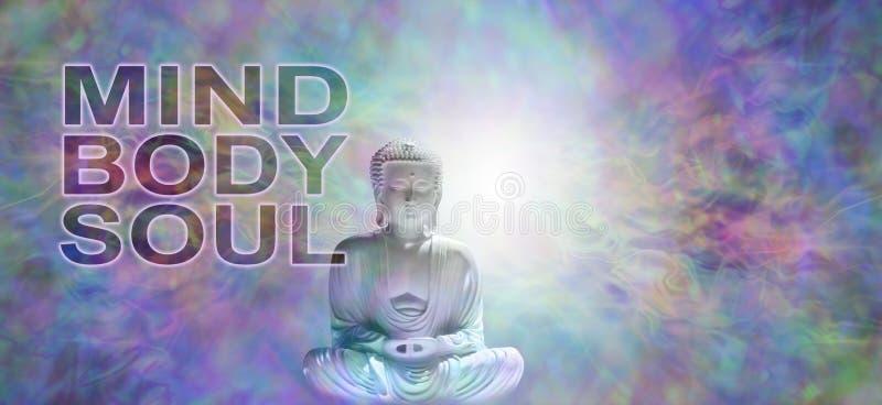 Umysłu ciała duszy Buddha sztandar zdjęcie stock