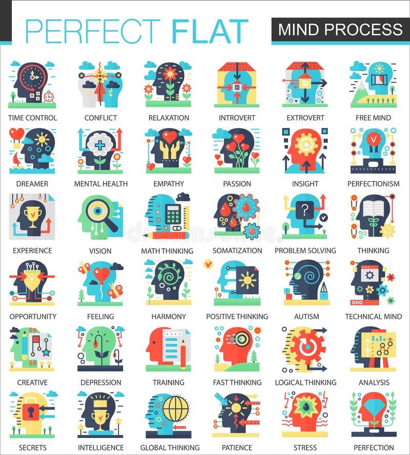 Umysłu individuaslity uwypukla wektorowych powikłanych płaskich ikony pojęcia symbole dla sieć infographic projekta ilustracja wektor