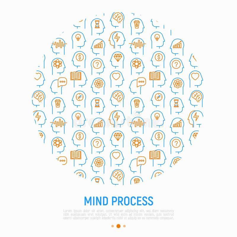 Umysłu proces pojęcie w okręgu royalty ilustracja