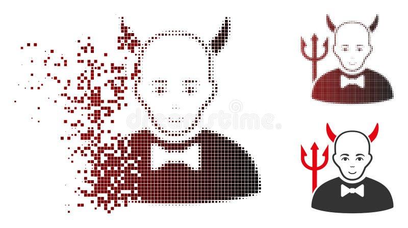 Umziehender Dot Halftone Satan Icon mit Gesicht lizenzfreie abbildung
