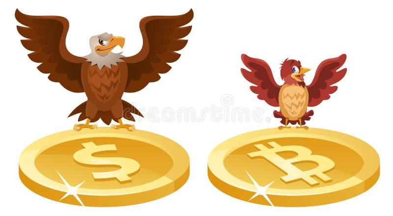 Un águila y un gorrión separaron sus alas sobre los símbolos del th libre illustration