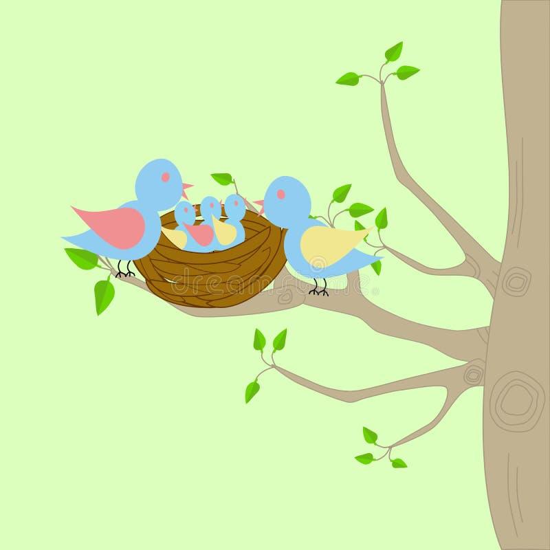 Un árbol con la jerarquía de los pájaros libre illustration