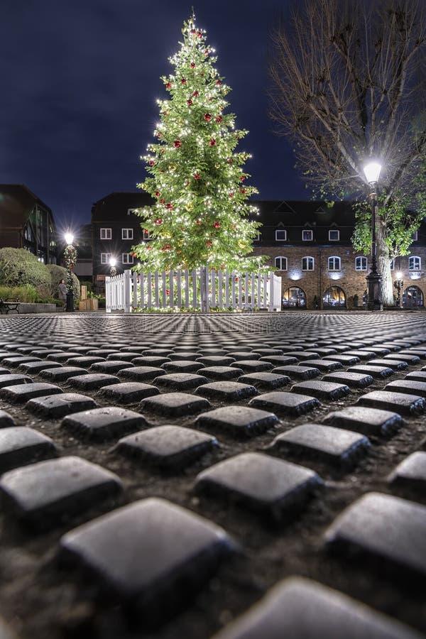 Un árbol de navidad en el área de muelle del St Katherine en Londres fotografía de archivo libre de regalías