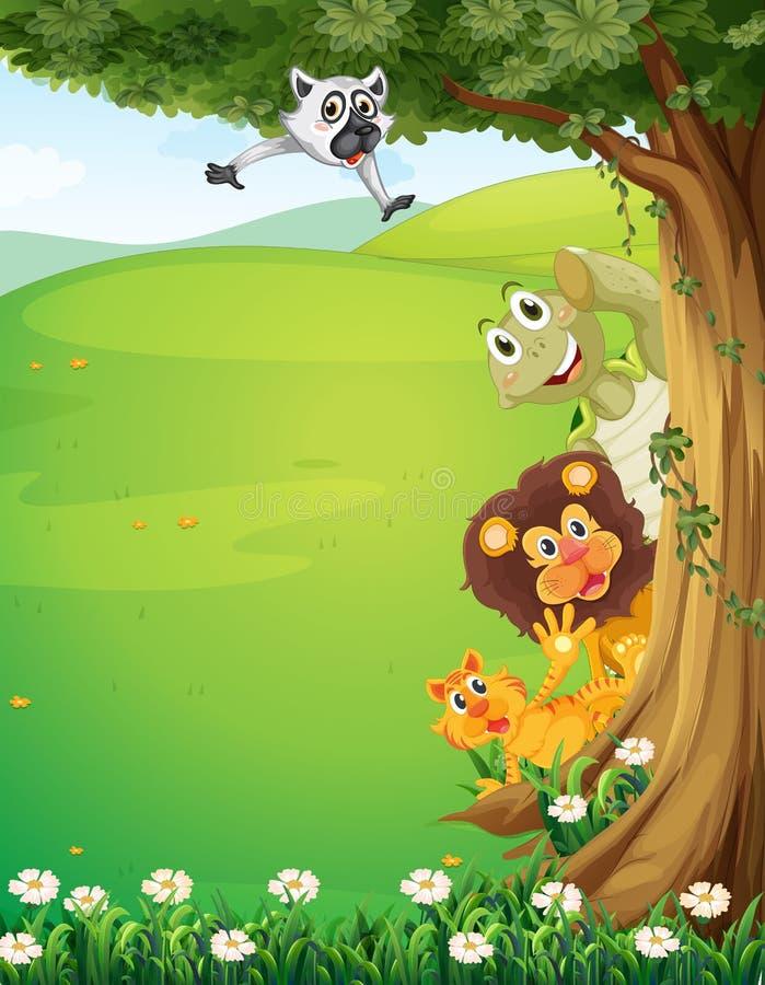 Un árbol en la cima de las colinas con la ocultación de los animales stock de ilustración