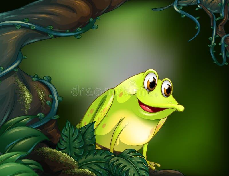 Un árbol grande con una rana verde ilustración del vector