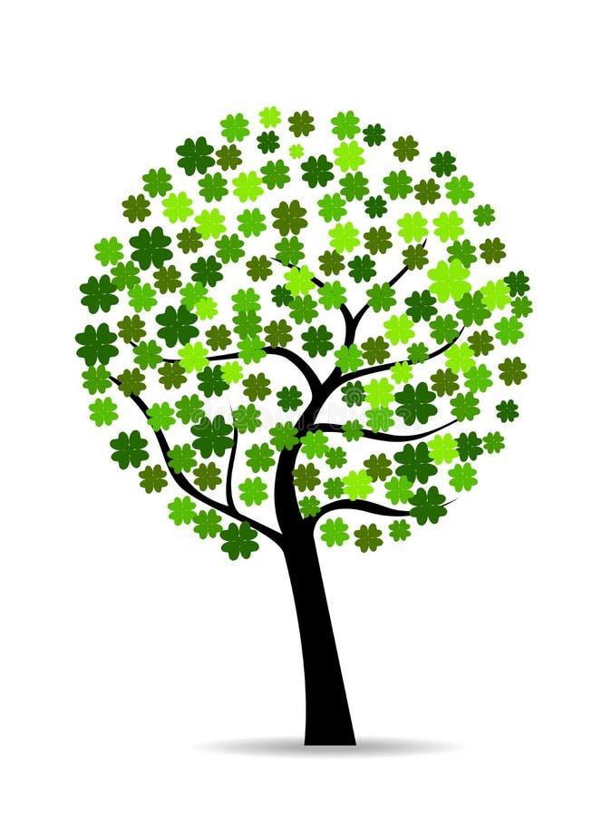 Un árbol hermoso del colover en el blanco isolted libre illustration