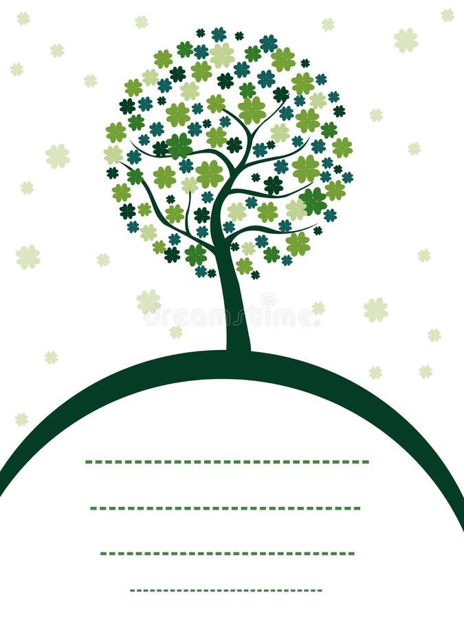 Un árbol hermoso del trébol en el fondo blanco. stock de ilustración