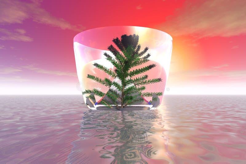 Un árbol misterioso en un buque de cristal enorme libre illustration