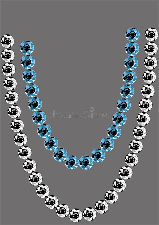 Un échantillon de perles des saphirs et de diamants sur un fond gris illustration libre de droits