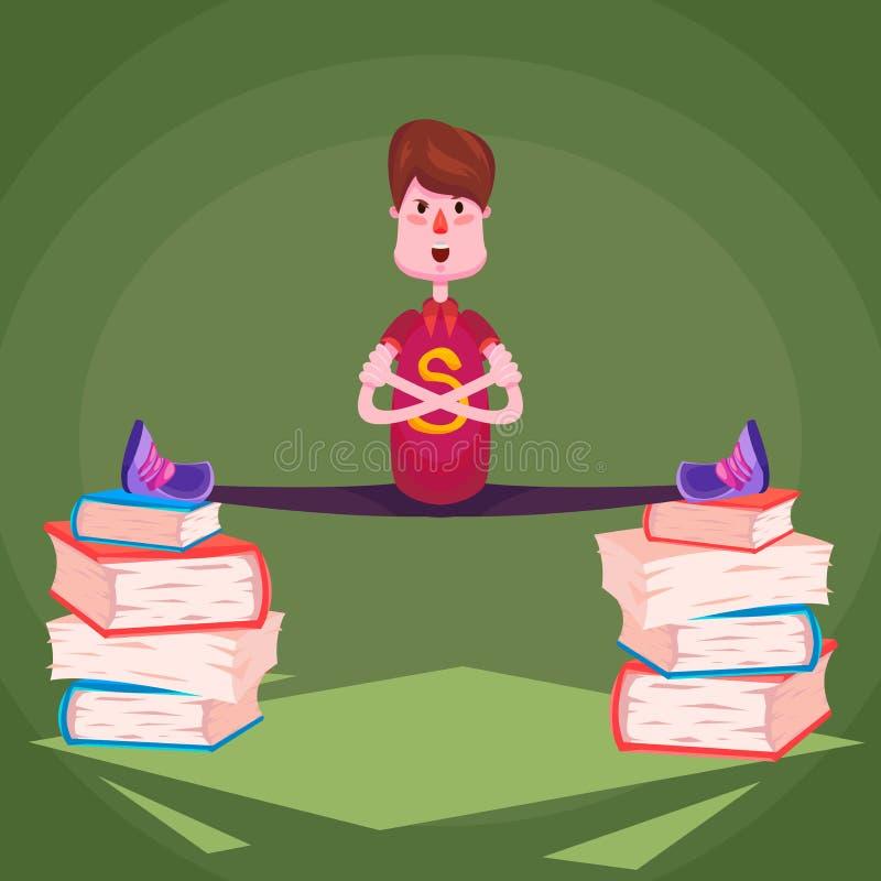 Un écolier de sports s'assied sur une ficelle sur des piles de livres sur un fond vert illustration de vecteur