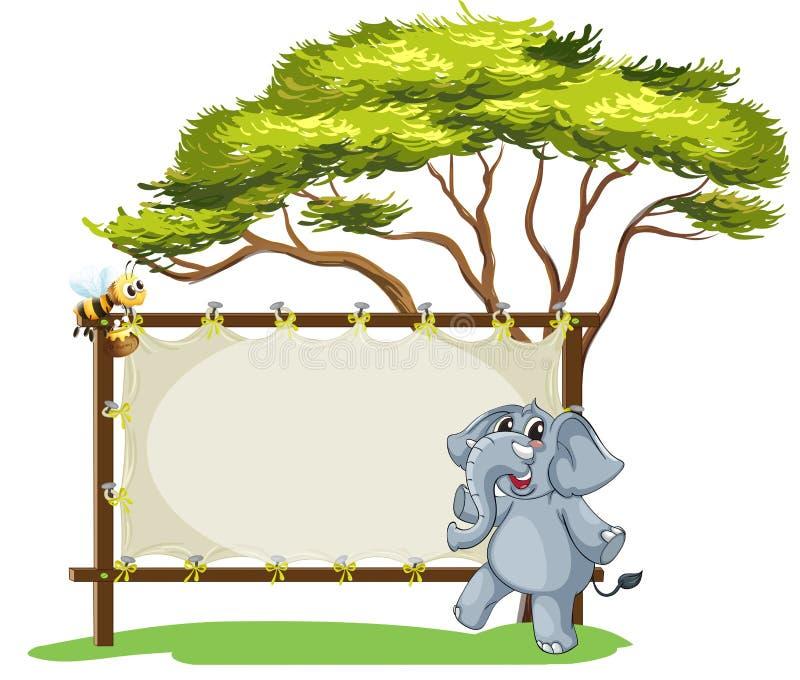 Un éléphant près d'un signage encadré vide illustration libre de droits