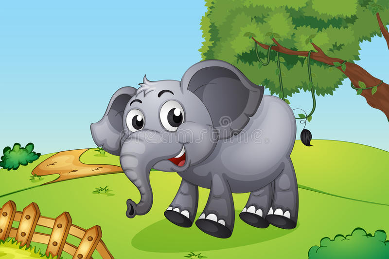 Un éléphant sautant à l'intérieur de la barrière en bois illustration stock