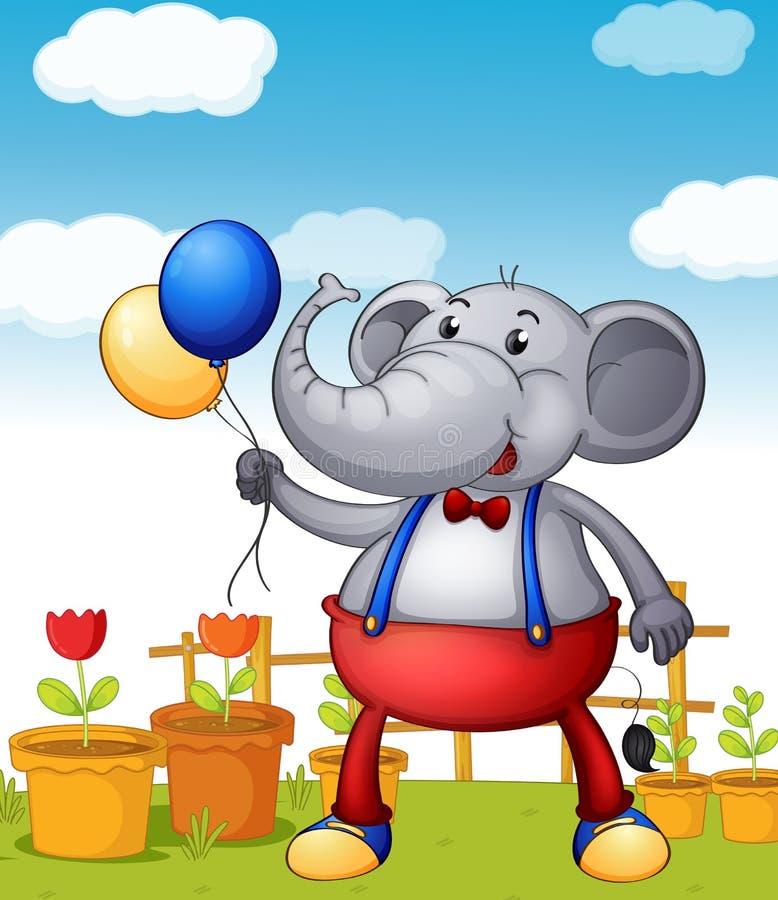 Un éléphant tenant des ballons avec des pots de fleur au fond illustration libre de droits