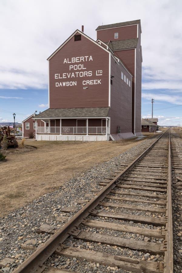 Un élévateur à grains à côté de chemin de fer photographie stock