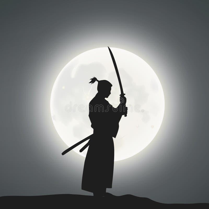 Un épéiste japonais sous le clair de lune illustration libre de droits