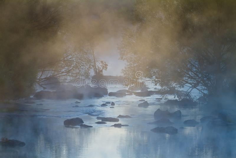 Un épais couvert de brouillard enchanté rivière à débit rapide et de pierres dans ses courants de saules sur ses rives image stock
