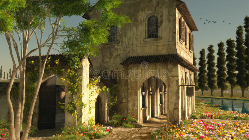 Un été en Toscane, 3d CG. illustration stock
