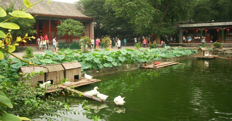 Un étang à l'intérieur du manoir de prince Gong photos stock