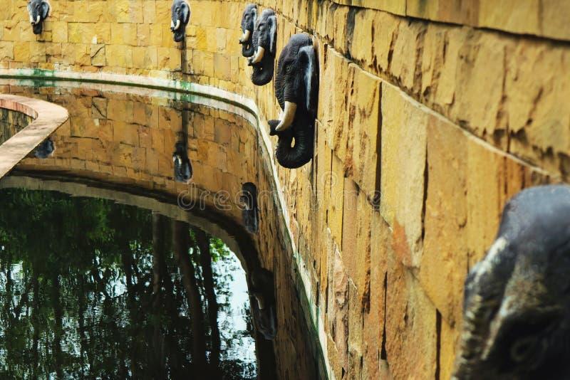 Un étang avec des fontaines d'éléphant image stock