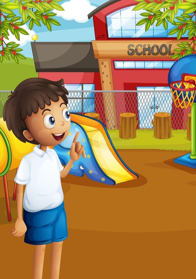 Un étudiant heureux au terrain de jeu de l'école illustration stock