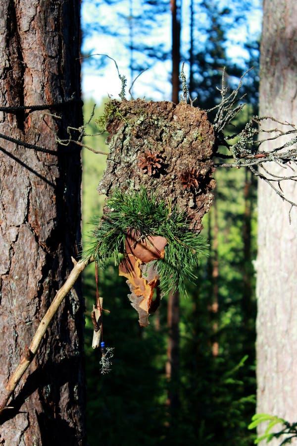 Un ídolo del bosque de los conos del palillo y del pino de la corteza hechos para engatusar las bebidas espirituosas paganism foto de archivo