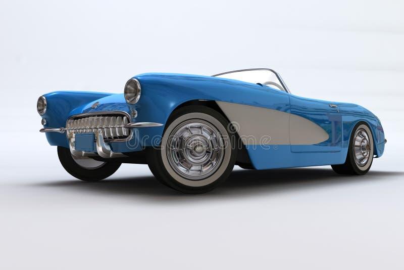 Un 3D rinde de un Chevrolet Corvette 1957 stock de ilustración