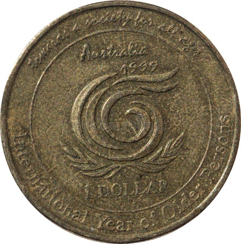 Un año internacional australiano de la moneda de cobre del dólar de más viejas personas foto de archivo libre de regalías