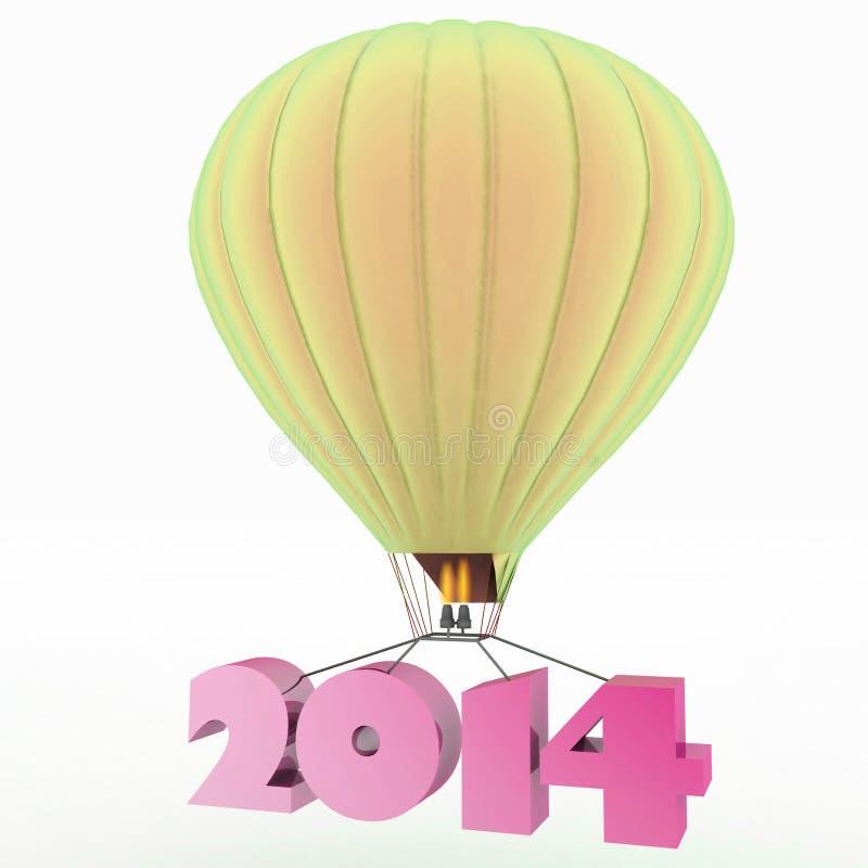 2014 un año vuela en un globo ilustración del vector