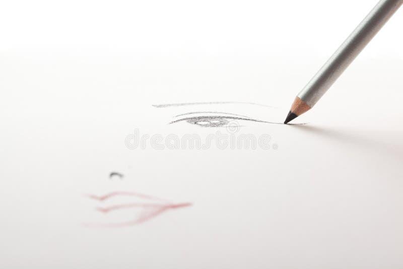Un abbozzo di trucco, illustrazione di matita della fodera dell'occhio nero fotografia stock
