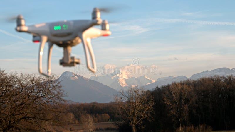 Un abejón asoma en vuelo delante de las montañas de las montañas en Francia imagenes de archivo