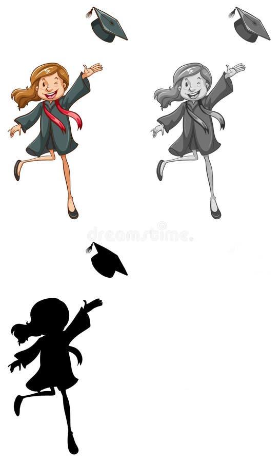 Un abito d'uso di graduazione della ragazza illustrazione vettoriale