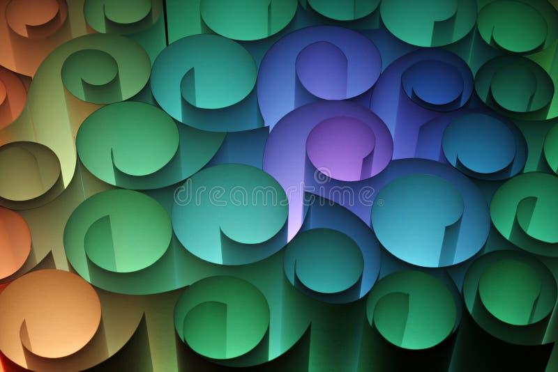 Un abstrait coloré des pirouettes de papier image stock