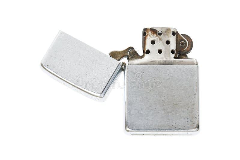 un accendino dell'acciaio inossidabile isolato su bianco fotografia stock libera da diritti